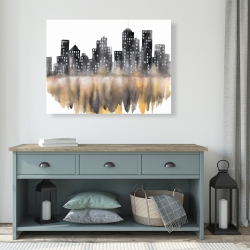 Canvas 36 x 48 - Yellow watercolor cityscape
