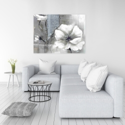 Canvas 36 x 48 - Monochrome and silver flowers