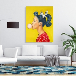 Canvas 36 x 48 - Retro woman with beautiful ponytail