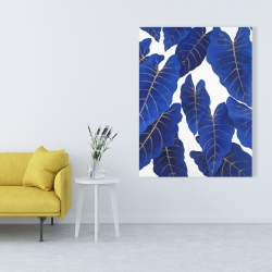 Canvas 36 x 48 - Tropical abstract blue leaves