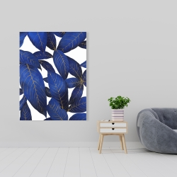 Canvas 36 x 48 - Abstract modern blue leaves