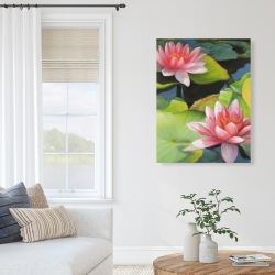 Canvas 36 x 48 - Water lilies and lotus flowers