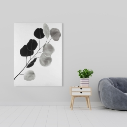 Canvas 36 x 48 - Grayscale branch with round shape leaves
