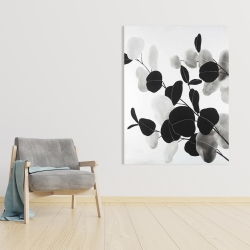 Canvas 36 x 48 - Grayscale branches with leaves