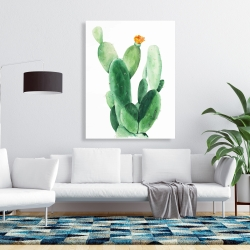 Canvas 36 x 48 - Watercolor paddle cactus with flower