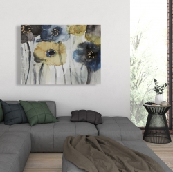 Canvas 36 x 48 - Gray blue and yellow flowers