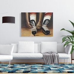 Canvas 36 x 48 - Hockey player ties his skates