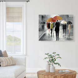 Canvas 36 x 48 - Street scene with umbrellas