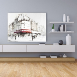 Canvas 36 x 48 - White street with red accents
