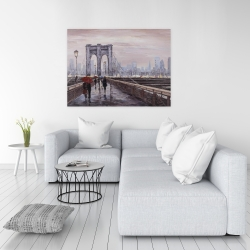 Canvas 36 x 48 - Brooklyn bridge with passersby