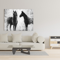 Canvas 36 x 48 - Black and white horses