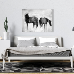 Canvas 36 x 48 - Horses silhouettes in the mist