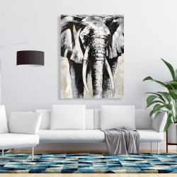 Canvas 36 x 48 - Grayscale elephant