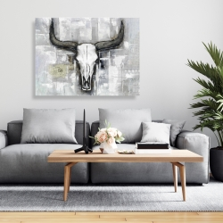 Canvas 36 x 48 - Bull skull on an industrial background