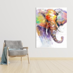 Canvas 36 x 48 - Beautiful and colorful elephant