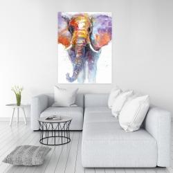 Canvas 36 x 48 - Colorful walking elephant
