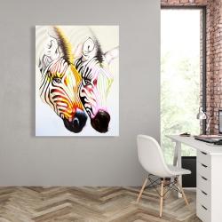 Canvas 36 x 48 - Couple of colorful zebras