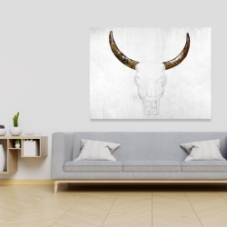 Canvas 36 x 48 - Bull skull with brown horns