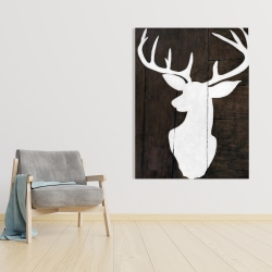 Canvas 36 x 48 - Silhouette of a deer on wood