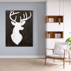 Canvas 36 x 48 - White silhouette of a deer on wood