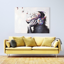 Canvas 36 x 48 - Monkey listening music