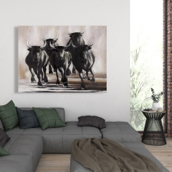 Canvas 36 x 48 - Group of running bulls