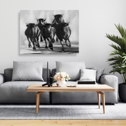 Canvas 36 x 48 - Group of bulls at galops
