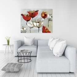 Canvas 36 x 48 - Abstract red and white flowers
