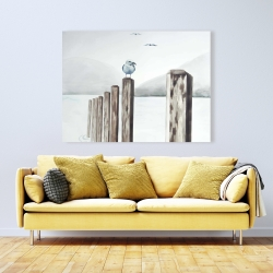 Canvas 36 x 48 - Seagull at the marina
