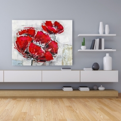 Canvas 36 x 48 - Abstract and texturized red flowers