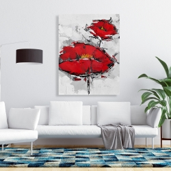Canvas 36 x 48 - Texturized red poppies