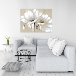 Canvas 36 x 48 - White abstract wild flowers
