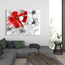 Canvas 36 x 48 - Red & gray flowers