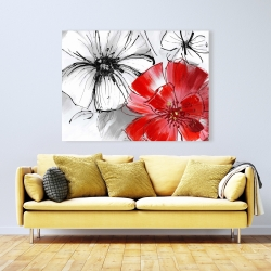 Canvas 36 x 48 - Red & white flowers sketch