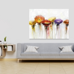 Canvas 36 x 48 - Multiple colorful abstract flowers