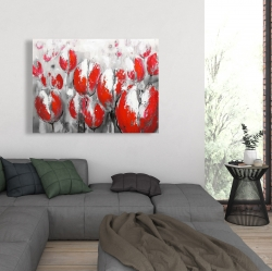 Canvas 36 x 48 - Abstract red tulips
