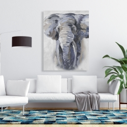 Canvas 36 x 48 - Pastel blue elephant
