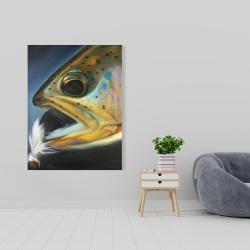 Canvas 36 x 48 - Golden trout with fly fishing flie