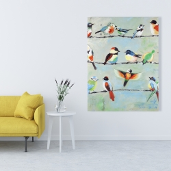Canvas 36 x 48 - Small abstract colorful birds