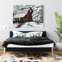 Canvas 36 x 48 - Red barn in snow