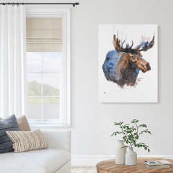 Canvas 36 x 48 - Abstract blue moose