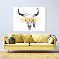 Canvas 36 x 48 - Cow skull with feather