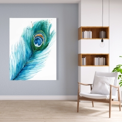 Canvas 36 x 48 - Long peacock feather