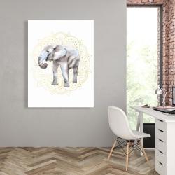 Canvas 36 x 48 - Elephant on mandalas pattern