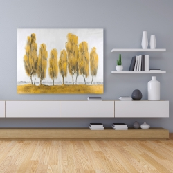 Canvas 36 x 48 - Seven abstract yellow trees
