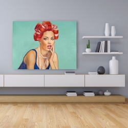 Canvas 36 x 48 - Pin up girl with curlers