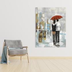 Canvas 36 x 48 - Couple walking under their umbrella