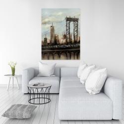 Canvas 36 x 48 - City bridge by a cloudy day