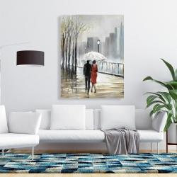 Canvas 36 x 48 - Couple walking under the rain