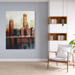 Canvas 36 x 48 - Abstract red cityscape